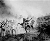 barikadenkampf in wien 1848, bey der nußdorfer linie by anton zampis