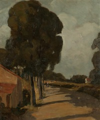 road through a village with figures by jean mannheim