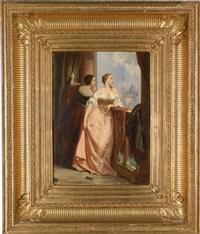 zwei damen am balkon, im hintergrund san giorgio maggiore, venedig by edouard jean conrad hamman