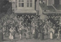 la procession de la ligue a paris en 1590 ou en 1593 dans  la rue du marche by françois bunel the younger