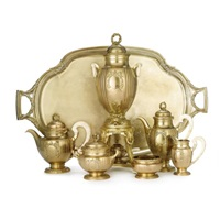 a tea and coffee set with matching two-handled tray (set of 7) by henin & cie