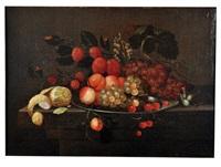 nature morte aux abricots, raisins, cerises et citron by andries benedetti