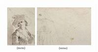 jeune berger au chapeau (recto); etude d'un homme utilisant une camera obscura (verso) by francesco guardi