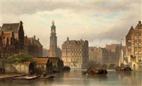 the amstel in summer with the munttoren and the rokin beyond by eduard alexander hilverdink