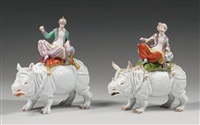 rhinocéros surmonté de personnage oriental (+ another; pair) by maison samson (co.)