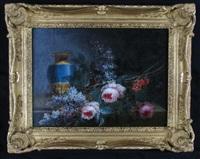nature morte aux fleurs et vase (pair) by i. s. j. le riche