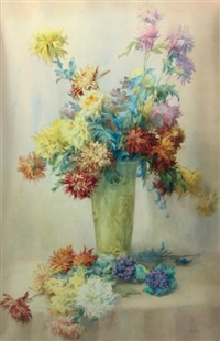 vase aux dahlias by isidore rosenstock