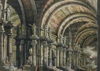 galerie romaine animée avec arcades et colonnades by antonio basoli