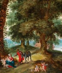 die rast der heiligen familie auf der flucht nach ägypten by jan brueghel the younger