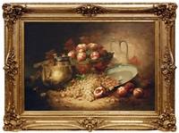 still life with brass jug and fruits by laurence