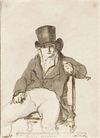 a page from the artist's illustrated diary: portrait of friedrich august hoffman in a top hat, seated, smoking a pipe by christiaan andriessen