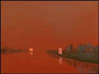 orange river with two luminous buildings by wanda koop