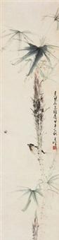 花鸟 立轴 设色纸本 by liang zhanfeng