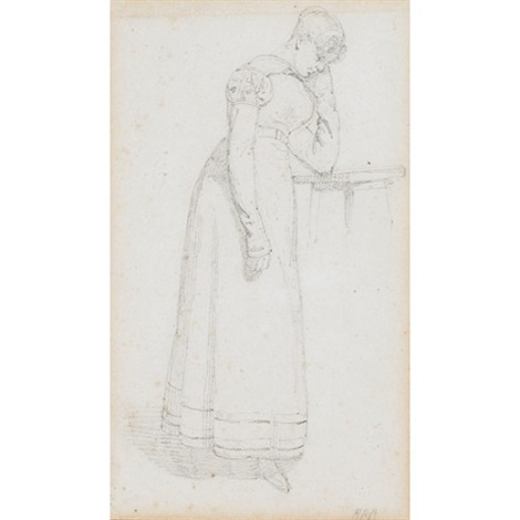 young girl study by richard parkes bonington