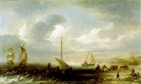 kuestenlandschaft mit segelbooten, fischern und reitern by hans (johan) goderis