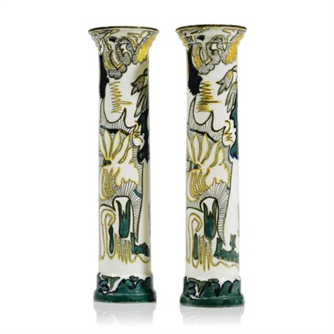 Arceering Pillar Vases Painted By Wp Hartgring Pair By Theodoor