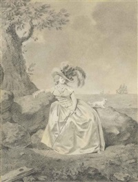 an elegant woman wearing a plumed hat and holding a riding crop, seated on a rock at the shoreline, with ships on the horizon by jacques antoine marie lemoine