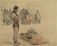 l'athlète près de l'orgue de barbarie by achille granchi-taylor
