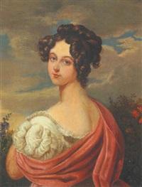 portrait einer jungen dame vor einer landschaft by leopold lieb