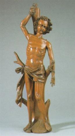 heiliger sebastian auf erdsockel stehend an einen baum gebunden by austrian school tyrolean 17