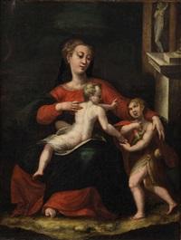 madonna mit dem jesusknaben, der den täuferknaben segnet by michelangelo anselmi