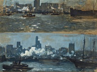 new york harbor (+ french army entering cairo, verso) by charles hoffbauer