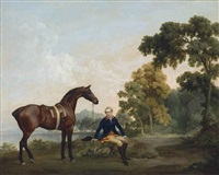 james hamilton, 2nd earl of clanbrassil (1730-1798), with his bay hunter mowbray, resting on a wooded path by a lake by george stubbs