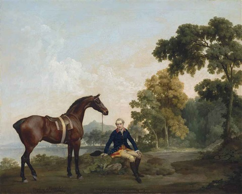 james hamilton 2nd earl of clanbrassil 1730 1798 with his bay hunter mowbray resting on a wooded path by a lake by george stubbs