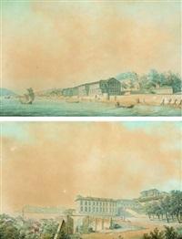 vue du palais de france à terapia sur le bosphore (+ vue du palais de france à pera - constantinople; 2 works) by ludwig rullmann