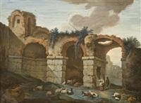veduta immaginaria delle rovine dei palazzi imperiali sul palatino, a roma by antonio zucchi