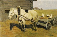 resting horse with chickens by ivan kuzmich sobakin