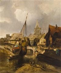 fishing village by thomas moran