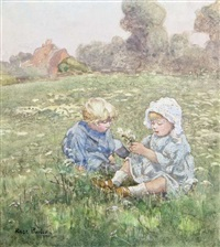 two children in a pasture by rose maynard barton