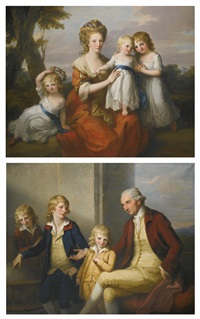 portrait of mary may with her three daughters and portrait of joseph may with their three sons (pair) by angelika kauffmann