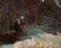 lavandière au bord du ruisseau by victor charreton