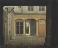 an italianate cobblestone courtyard, a sunlit landscape beyond by jean victor bertin