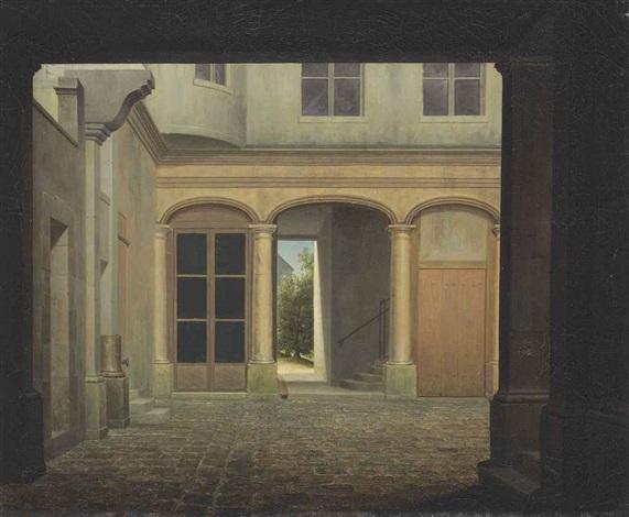 an italianate cobblestone courtyard a sunlit landscape beyond by jean victor bertin
