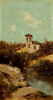 paisaje con río by emilio álvarez ayllón (ayón)