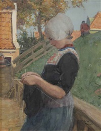 portrait of a volendam girl by willy sluijter
