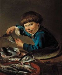a boy standing by a table laden with fish by petrus staverenus