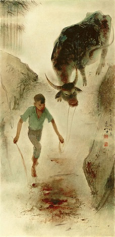 boy and buffalo by lee man fong