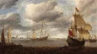 dutch shipping in an estuary with figures on a jetty by jan borritsz smit