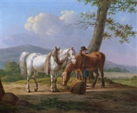 a farmhand with his horses by anthony oberman