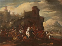 cavalry battle in front of a walled city by philips wouwerman