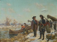 lasalle and tonti at the long portage by edgar spier cameron