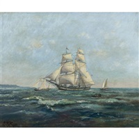 shipping off the norman coast by léon jules alphonse le royer