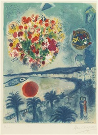 sunset (from nice and the côte d'azur) (by sorlier) by marc chagall