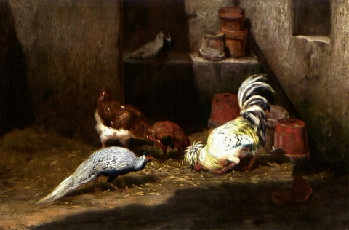 gockel und pfau picken getreide, dahinter zwei tauben by philibert-leon couturier
