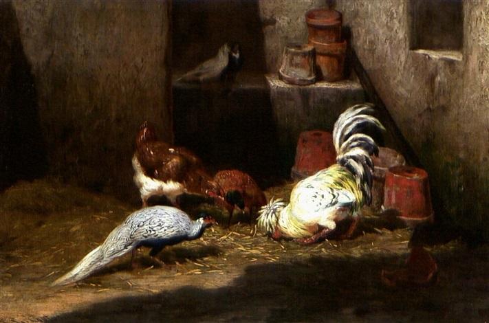 gockel und pfau picken getreide dahinter zwei tauben by philibert leon couturier