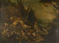 scène de chasse au tigre, scène de chasse à courre (2 works) by german school (18)